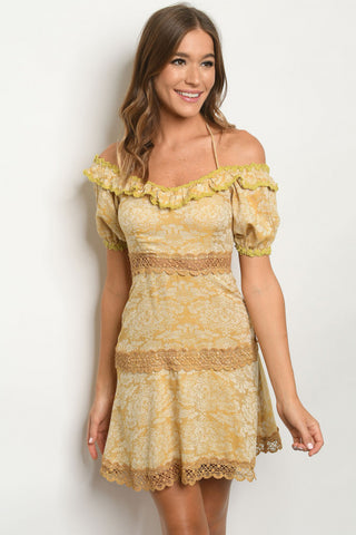 Mustard Yellow Floral Lace Accent Dress