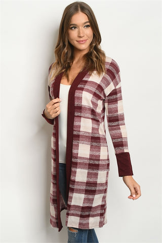 Burgundy Checkered Open Front Cardigan