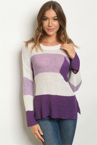 Lavender and Ivory Colorblock Knit Sweater