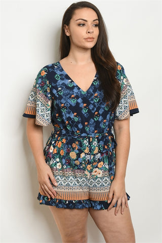 Navy Blue Floral Plus Size Romper
