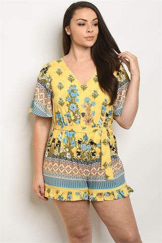 Yellow Floral Plus Size Romper