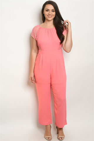 Coral Pink Lace Accent Plus Size Jumpsuit