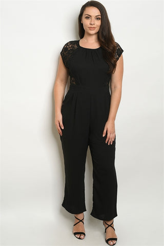 Black Lace Accent Plus Size Jumpsuit