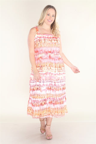 Coral Pink Tie Dye Plus Size Maxi Dress