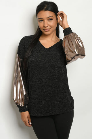 Black with Rose Gold Shimmer Plus Size Top