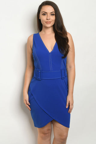Royal Blue Vintage Inspired Belted Plus Size Dress