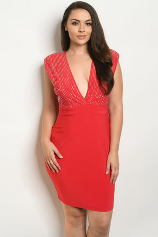 Red Stud Accent Plus Size Dress