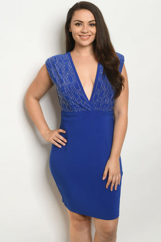 Royal Blue Stud Accent Plus Size Dress