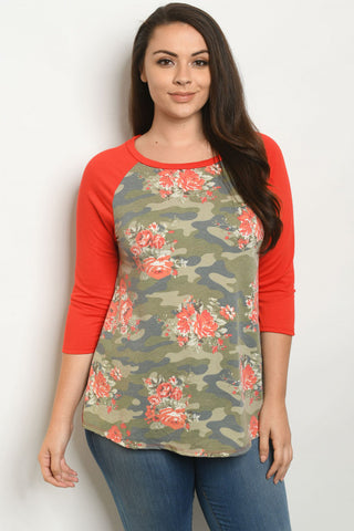 Red Floral Camouflage Raglan Sleeve Plus Size Top