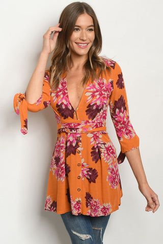 Orange Floral Tie Sleeve Tunic Top