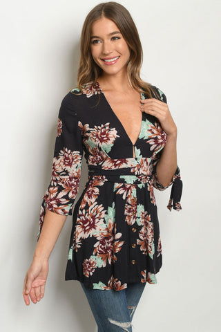 Black Floral Tie Sleeve Tunic Top