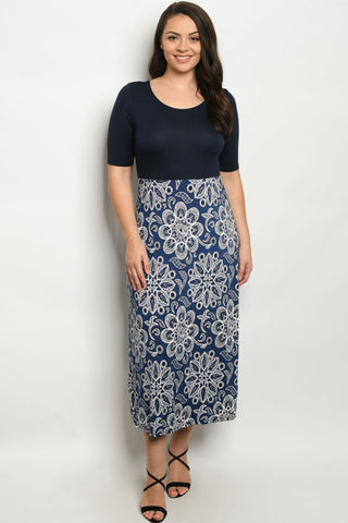 Navy Blue Floral Midi Plus Size Maxi Dress