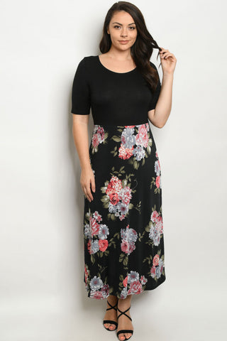 Black Floral Midi Plus Size Maxi Dress