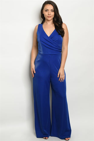 Royal Blue Shimmer Wide Leg Plus Size Bodysuit