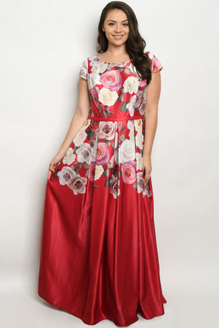 Red with Roses Plus Size Maxi Dress Gown