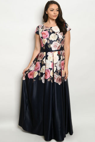 Navy Blue with Roses Plus Size Maxi Dress Gown