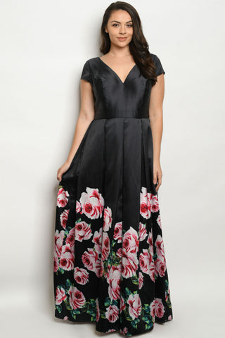 Black with Roses Plus Size Maxi Dress Gown