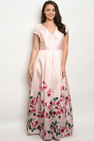 Blush Pink with Roses Plus Size Maxi Dress Gown