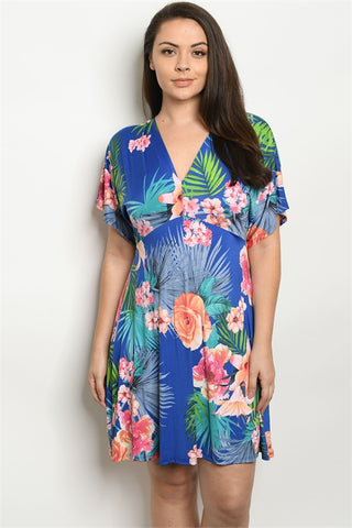 Royal Blue Floral Plus Size Skater Dress