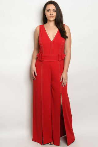 Red Retro Inspired Wide Leg Plus Size Jumpsuit