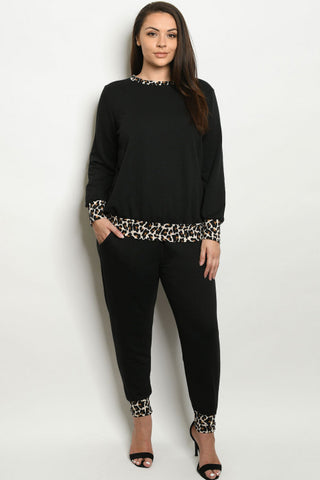 Black Animal Print Plus Size Loungewear Set