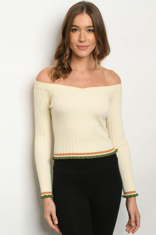 Ivory Cold Shoulder Long Sleeve Sweater