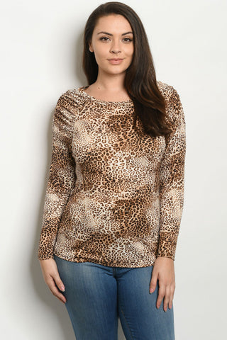 Taupe Leopard Print Raglan Sleeve Plus Size Top
