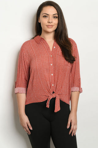 Rust Red Plus Size Striped Top