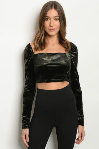 Camouflage Velvet Long Sleeve Crop Top