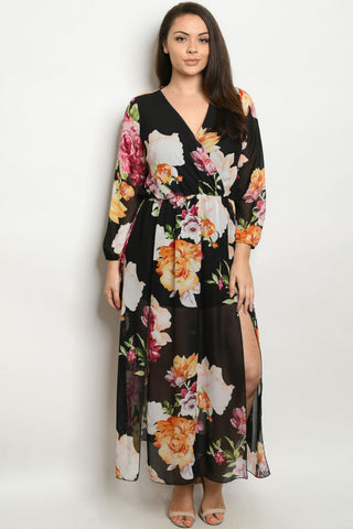 Black Floral Romper Plus Size Maxi Dress