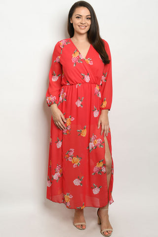 Red Floral Romper Plus Size Maxi Dress