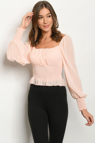 Peach Long Sleeve Smoked Waist Top