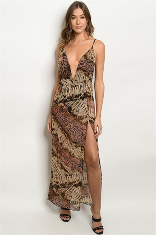 Brown and Pink Snakeskin Animal Print Maxi Dress