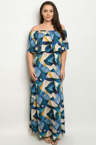 Teal Blue Cold Shoulder Plus Size Maxi Dress