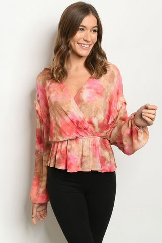 Rose Pink Tie Dye Long Sleeve Peplum Top