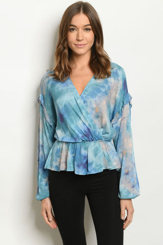 Teal Blue Tie Dye Long Sleeve Peplum Top