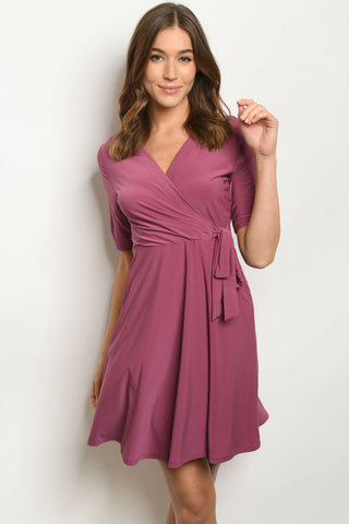 Purple Short Sleeve Wrap Dress