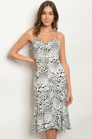 Black and White Animal Print Sheath Dress