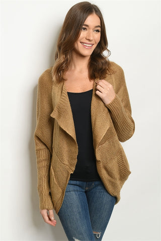 Camel Brown Open Front Cardigan Sweater
