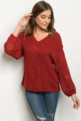 Burgundy Puff Sleeve Sweater