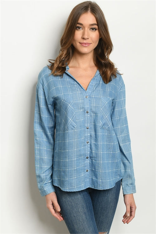Chambray Denim Long Sleeve Blouse