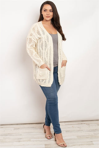 Ivory Cable Knit Plus Size Sweater