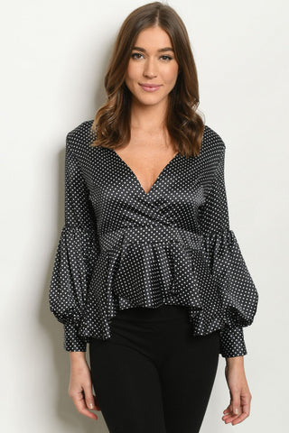 Black Polka Dot Peplum Blouse