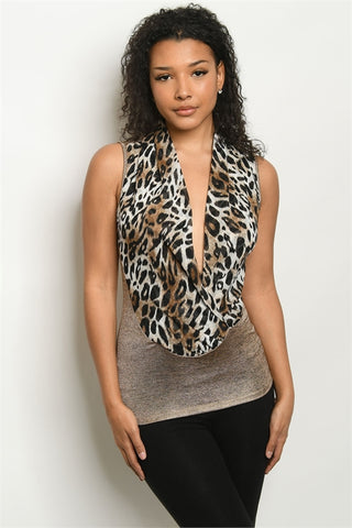 Gold Animal Print Sleeveless Top