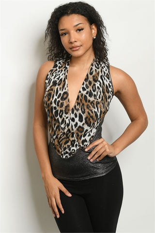 Silver Animal Print Sleeveless Top