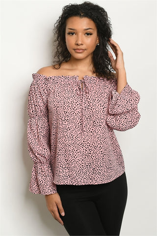 Pink Animal Print Puff Sleeve Top