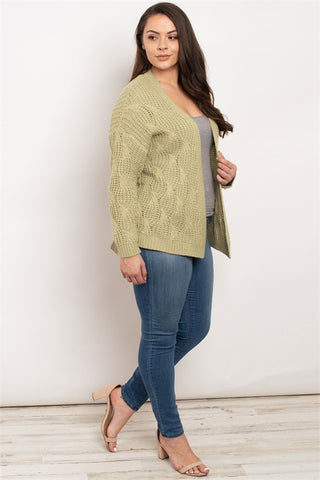 Sage Green Plus Size Cardigan Sweater