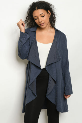 Navy Blue Long Sleeve Cardigan Jacket