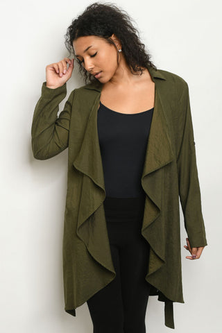 Olive Green Long Sleeve Cardigan Jacket