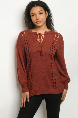 Brick Red Knit Long Sleeve Sweater